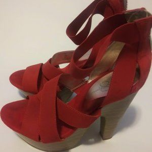 RED Strappy Jessica Simpson High Heels